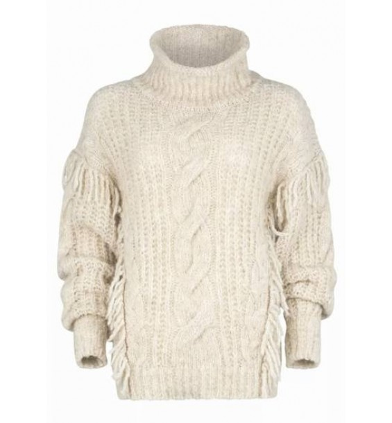 Chunky Knitted Turtleneck Jumper with Fringes